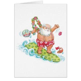 Cartão Desenhos animados do natal vintage que surfam