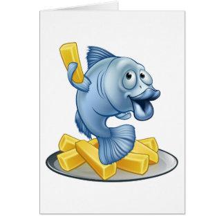 Cartão Desenhos animados do peixe com batatas fritas