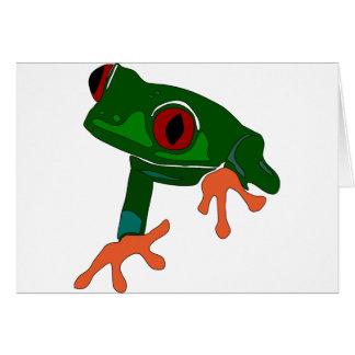 Cartão Desenhos animados do sapo verde