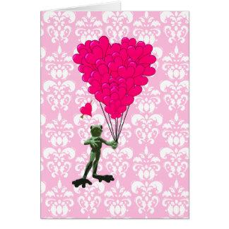 Cartão Desenhos animados engraçados do sapo & coração