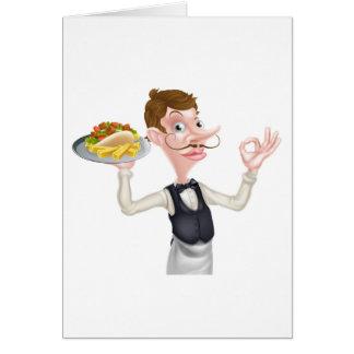Cartão Desenhos animados garçom perfeito de Kebab e de