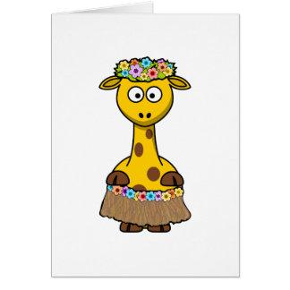 Cartão Desenhos animados havaianos do girafa