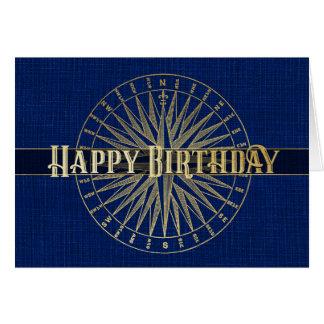 Cartão Design azul do compasso do feliz aniversario