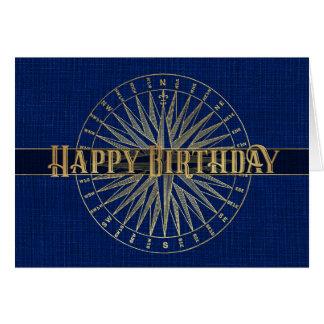 Cartão Design azul do efeito do compasso 3D do feliz