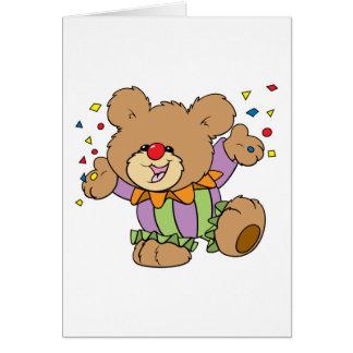 Cartão design bonito do urso de ursinho do palhaço do