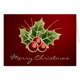 Cartão Design de brilho do Natal da baga do azevinho