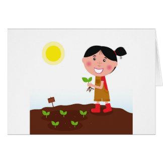 Cartão Design desenhado mão: Menina do jardim