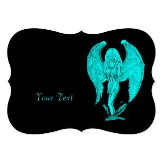Cartão Design do anjo, do preto e do verde