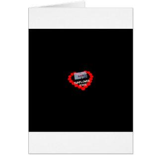 Cartão Design do coração da vela para o estado de Kansas