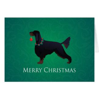 Cartão Design do Feliz Natal do setter de Gordon