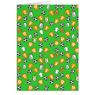 Cartão Design do futebol com as camisas alaranjadas do
