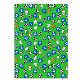 Cartão Design do futebol com camisas azuis