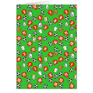 Cartão Design do futebol com camisas vermelhas