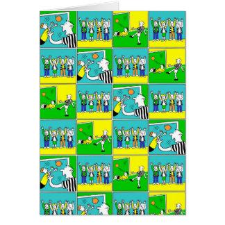 Cartão Design do futebol com jogadores e fãs