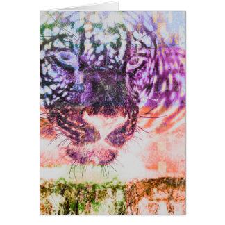 Cartão Design do gato de Jaguar do arco-íris