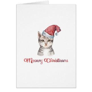 Cartão Design do Natal de Meowy para amantes do gato