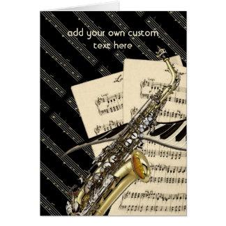 Cartão Design do saxofone & da música do piano