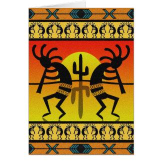 Cartão Design do sudoeste que dança Kokopelli