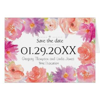 Cartão Design floral da aguarela - salvar a data
