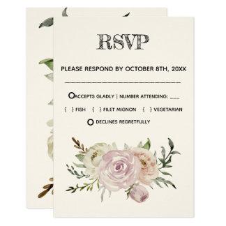 Cartão Design floral retro do rsvp do casamento