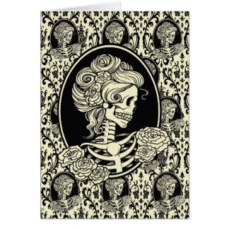Cartão Design gráfico da senhora Esqueleto Silhueta