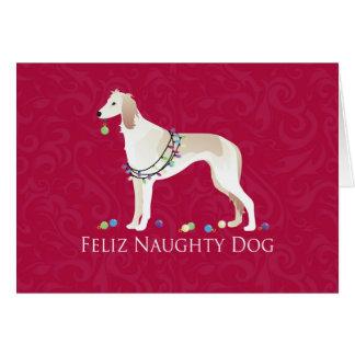 Cartão Design impertinente do Natal do cão de Saluki