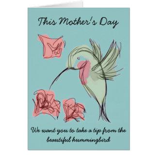 Cartão Design irrisório do dia das mães do colibri