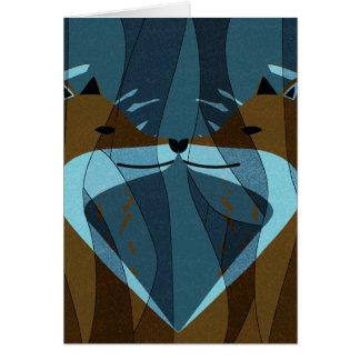 Cartão Design lindo do beijo das raposas