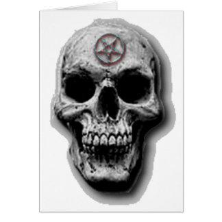 Cartão Design mau satânico do crânio