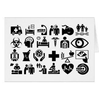 Cartão Design preto e branco corajoso dos ícones médicos