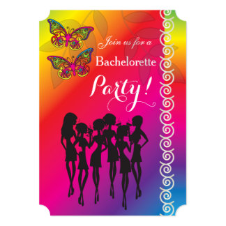 Cartão Design psicadélico da festa de solteira da