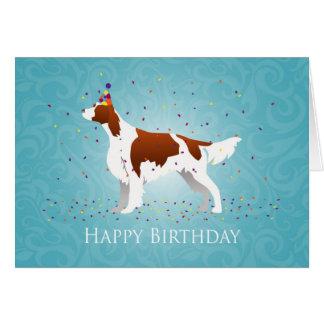 Cartão Design vermelho e branco irlandês do aniversário