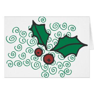 Cartão Design vermelho e verde moderno do azevinho do