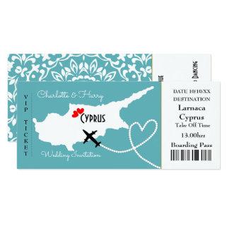 Cartão Destino Chipre do casamento da passagem de
