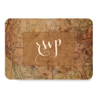Cartão Destino chique do mapa do vintage que Wedding RSVP