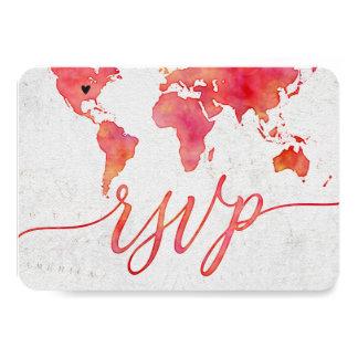Cartão Destino do mapa do mundo da aguarela que Wedding