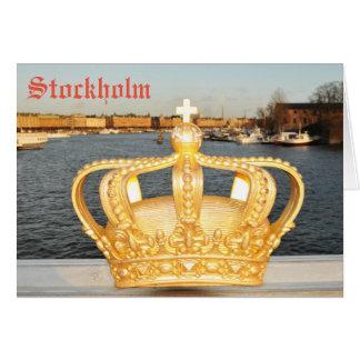 Cartão Detalhe de ponte dourada da coroa em Éstocolmo,