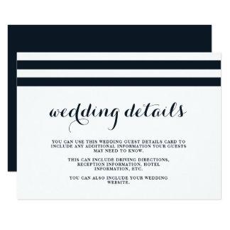 Cartão Detalhes azuis e brancos do casamento litoral do