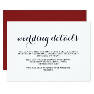 Cartão Detalhes azuis, vermelhos, e brancos do casamento