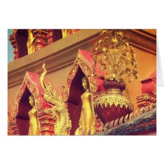 Cartão Detalhes de Wat e estátua do elefante da fantasia