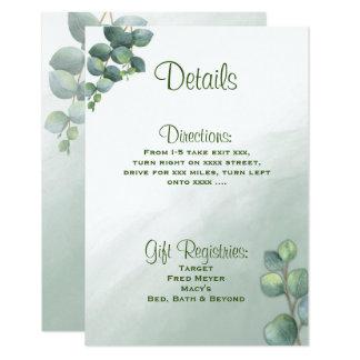 Cartão Detalhes do casamento da aguarela do eucalipto