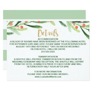 Cartão Detalhes do casamento da grinalda do azevinho do