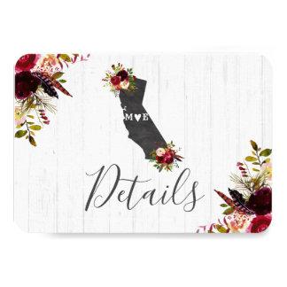 Cartão Detalhes do casamento do destino do estado de