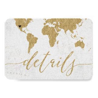 Cartão Detalhes do casamento do destino do mapa do mundo