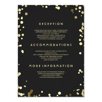 Cartão Detalhes do casamento dos confetes do ouro -