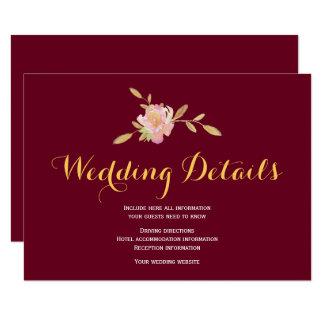Cartão Detalhes do convidado do casamento do ouro de