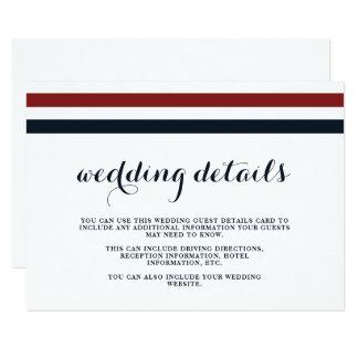 Cartão Detalhes do convidado do vermelho azul e do branco