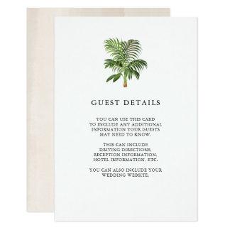 Cartão Detalhes elegantes do convidado das folhas de