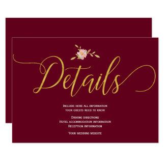 Cartão Detalhes elegantes do convidado do casamento do