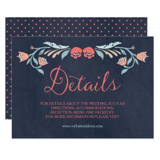 Cartão Detalhes florais elegantes do casamento do quadro